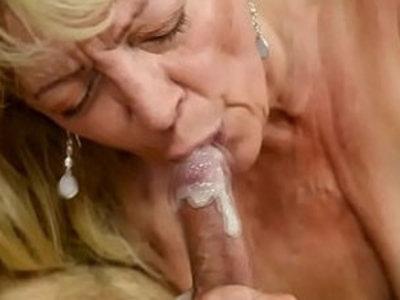 Saggy grandma receives cum in mouth | cum in mouth  gilf  grandma
