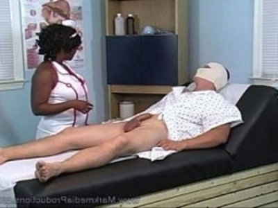 black nurse milking cock   bbw  black  cock  handjob  nurse  sperm