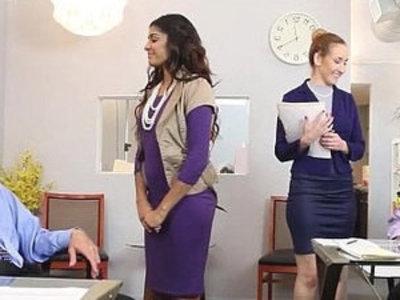 Gigi and Katalina give good massage on their boss | boss  massage