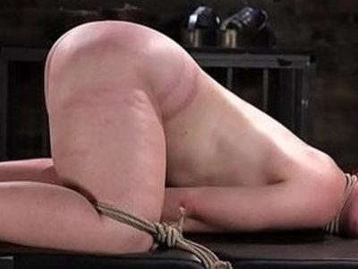 Spreadeagled bondage sub tied up and whipped | bdsm  bondage