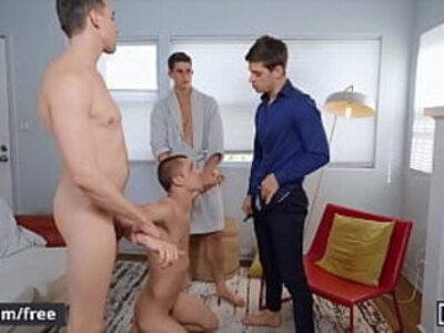 Four Stunning Muscular Fraternity Brothers Bareback Each Other Until They Cum - Men | brother  sperm  stunning