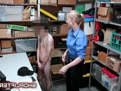 Excited Police Lady Gets Boy Hard In Backroom | boy   lady   uniform