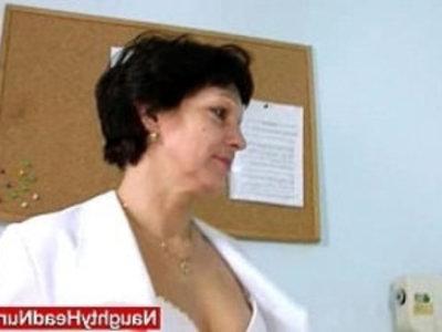 Juicy Mom in nurse uniform stretching furry twat | bizarre  dildo  gilf  hairy pussy  juicy girls  kinky  lady  masturbation  mature  milf