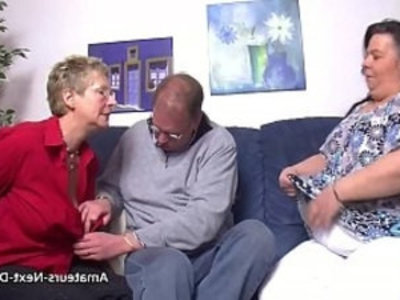 Thick thighed BBW joins in with mature couple | 3some   amateur   bbw   blowjob   couple   fat girls   fingering   german girls   glasses   mature