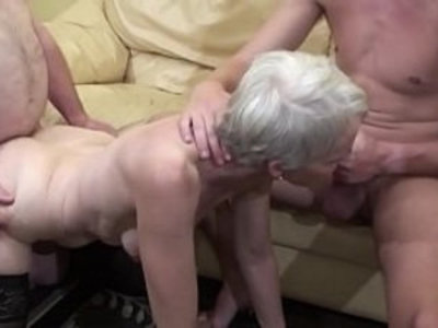 Old woman makes a threesome with her nephew and her father | 3some   blowjob   cumshots   facials   fat girls   hairy pussy   mature   old and young   woman   young