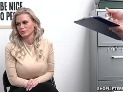 Busty shoplifter MILF Casca Akashova caught stealing necklace by an officer. She was offered for sex to get her freedom and fucked inside the office. | busty   caught   milf   office   uniform