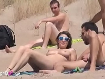 Sol fucks a guy in a beach surrounded by voyeurs | amateur  beach  blowjob  brunette  busty  cowgirls  cumshots  doggy  european girls  outdoor