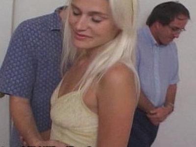 Blondie Wifey Cuckold Watches Sex | blonde  cuckold  hubby  wife