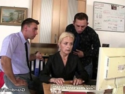 Two guys seduce old blonde | blonde  grandma  mommy  old and young  seduction