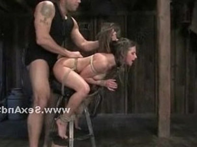 Busty slaves tied in violent video | bdsm  busty  girls