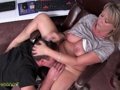 Mommy Son Caught at the Office | blonde   blowjob   caught   close up   family taboo   mommy   office   orgasm   shaved pussy   son and mom
