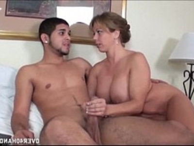 Naughty Milf Jerks Off A Naked Young Dude | bedroom   dude   handjob   huge cocks   jerking   mature   milf   naked   naughty girls   young