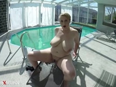 monster boob Milf masturbating at the pool | bbw   big booty   chubby girls   fat girls   masturbation   milf   pool party   stepmom