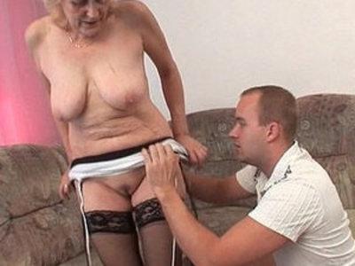 Grandma in stockings gets facial | facials  gilf  grandma  stockings