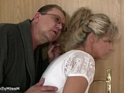 She rides his old cock after cunnilingus | 3some  cheating wife  cock  cunnilingus  gilf  grandpa  mature  milf  old and young  riding cock